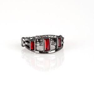 Red and gunmetal bling ring